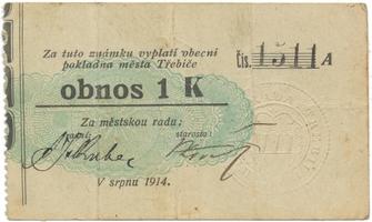 Třebíč - město, 1 K srpen 1914, slabší K, HH.223.5.6b3