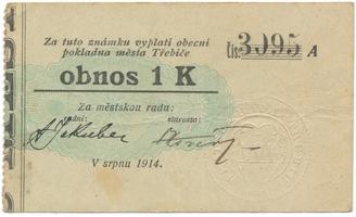 Třebíč - město, 1 K srpen 1914, silnější K, HH.223.5.6c1