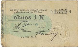 Třebíč - město, 1 K srpen 1914, silnější K, HH.223.5.6d1