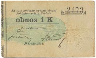 Třebíč - město, 1 K srpen 1914, silnější K, HH.223.5.6e1
