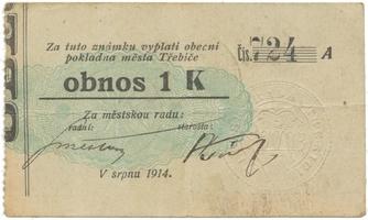 Třebíč - město, 1 K srpen 1914, slabší K, HH.223.5.6e3