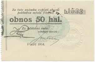Třebíč - město, 50 hal září 1914, bez série, HH.223.5.8a