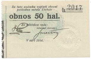 Třebíč - město, 50 hal září 1914, bez série, HH.223.5.8b