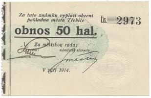Třebíč - město, 50 hal září 1914, bez série, HH.223.5.8c