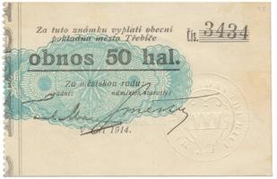 Třebíč - město, 50 hal září 1914, bez série, HH.223.5.8d