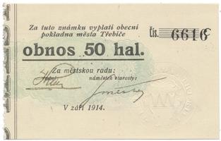 Třebíč - město, 50 hal září 1914, série C, HH.223.5.9a