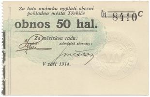 Třebíč - město, 50 hal září 1914, série C, HH.223.5.9b