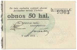 Třebíč - město, 50 hal září 1914, série C, HH.223.5.9c