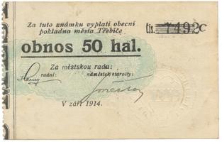 Třebíč - město, 50 hal září 1914, série C, Herzán (podpis neteře), HH.223.5.9d