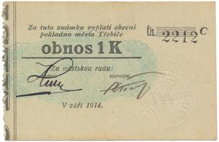 Třebíč - město, 1 K září 1914, silnější K, HH.223.5.10f1