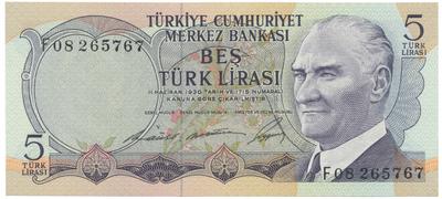 Turecko, 5 Lira (1968), P.179