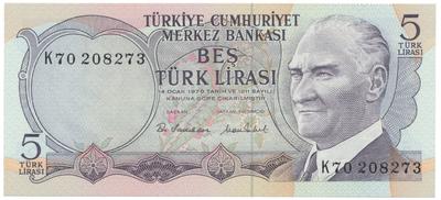 Turecko, 5 Lira (1976), P.185