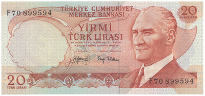 Turecko, 20 Lira (1974), P.187a