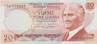 Turecko, 20 Lira (1974), P.187b