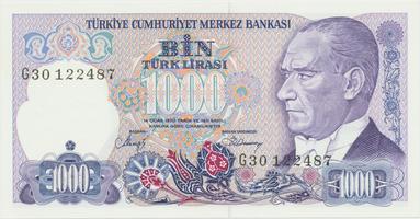 Turecko, 1000 Lira (1986), P.196