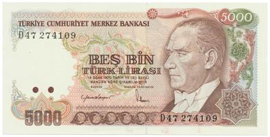 Turecko, 5000 Lira (1985), P.197