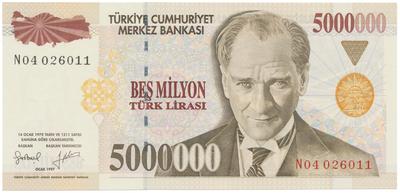 Turecko, 5.000.000 Lira 1997, P.210