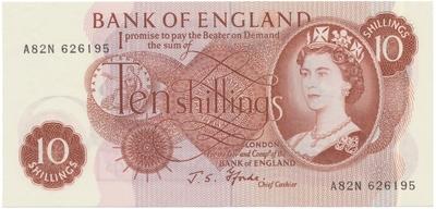 Velká Británie, 10 Shillings b.d. (1966~1970), Fforde, P.373c, 3 ks, čísla po sobě