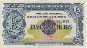 Velká Británie, BAF, 5 Pounds b.d. (1958), P.M23