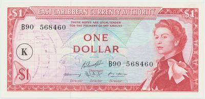 Východokaribské státy, 1 Dollar (1965), K - St. Kitts, P.13k