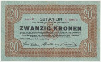 Warnsdorf (Varnsdorf) - město, 20 K  7. 11. 1918, HH.245.2.4