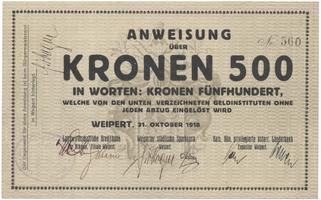 Weipert (Vejprty) - peněžní ústavy, 500 K  1. 10. 1918, HH.248.2.1