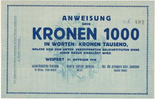 Weipert (Vejprty) - peněžní ústavy, 1000 K  1. 10. 1918, HH.248.2.2b