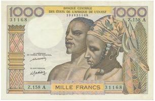 Západoafrické státy, 1000 Francs (1977), A - Pobřeží slonoviny, P.103Al