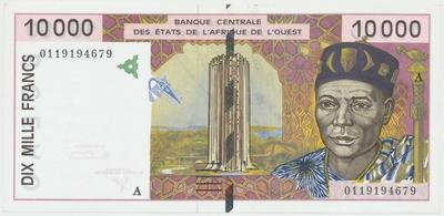 Západoafrické státy, 10000 Francs (2001), A - Pobřeží slonoviny, P.114Aj