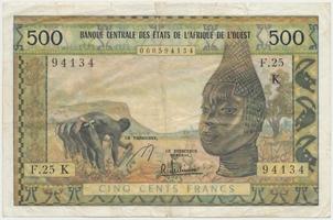 Západoafrické státy, 500 Francs (1965-), K - Senegal, P.702Kf