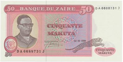 Zaire, 50 Makuta 1980, P.17b
