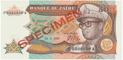 Zaire, 500 Zaires 1989, anulát - SPECIMEN, P.34s