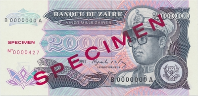 Zaire, 20.000 Zaires 1991, anulát - SPECIMEN, P.39s