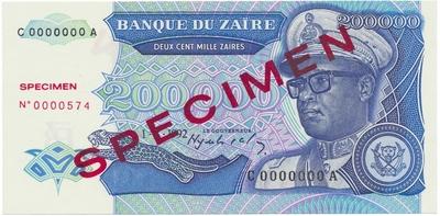 Zaire, 200.000 Zaires 1992, anulát - SPECIMEN, P.42s