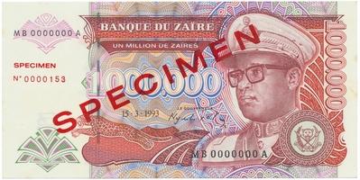 Zaire, 1.000.000 Zaires 1993, anulát - SPECIMEN, P.45s