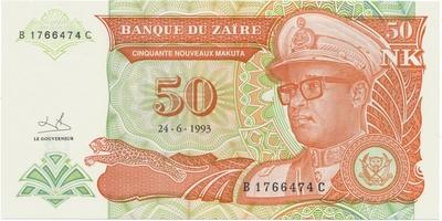 Zaire, 50 Nouveaux Makuta 1993, P.51