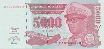 Zaire, 5000 Nouveaux Zaires 1995, P.69