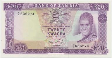 Zambie, 20 Kwacha (1969), P.13c