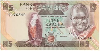 Zambie, 5 Kwacha (1980~1981), P.25a