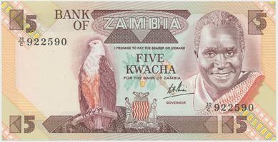 Zambie, 5 Kwacha (1986~1988), P.25c