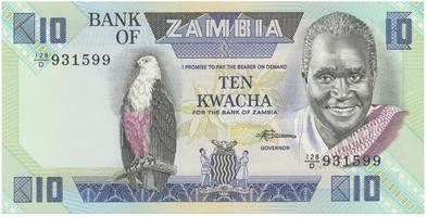 Zambie, 10 Kwacha (1986~1988), P.26e