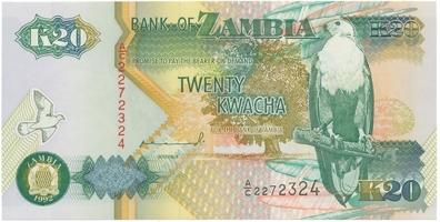 Zambie, 20 Kwacha 1992, P.36a
