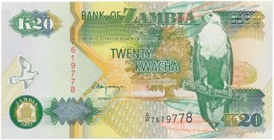Zambie, 20 Kwacha 1992, P.36b