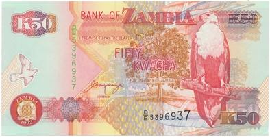 Zambie, 50 Kwacha 1992, P.37b
