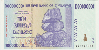 Zimbabwe, 10 Billion Dollars 2008, P.85