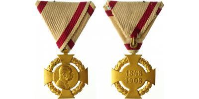 Jubilejní kříž z roku 1908 na vojenské stuze, bronz zlacená, Marko.402a