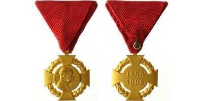 Jubilejní kříž z roku 1908 na civilní stuze, bronz zlacená, Marko.403