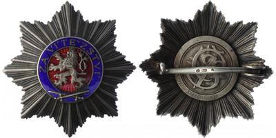 Československý vojenský řád Bílého lva Za vítězství, hvězda II. stupně, stříbro, punc