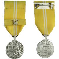 Medaile Za zásluhy, II. stupeň, stříbro, punc., Nov. 198b, stužka se skříženými meči,