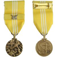 Medaile Za zásluhy, III. stupeň, Nov. 198c, stužka se zkříženými meči, původní etue